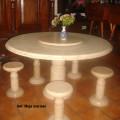 Meja marmer antik, bisa puter tengah