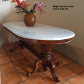 Meja makan oval marmer antik