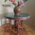 Meja marmer hijau antik diameter 100cm