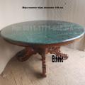 Meja bundar marmer hijau diameter 150 cm