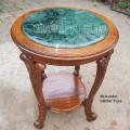 Meja pajangan marmer hijau diameter 65cm