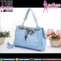 Tas Fashion Wanita - Blue Chain Rhombus Ribbon Bag