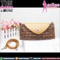 Tas Wanita Ethnic Style - Mini Handbag Rattan Latte Leather Bag