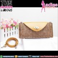 Tas Wanita Ethnic Style - Mini Rattan Latte Leather Bag