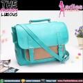 Tas Wanita Fashion - Dualbelt Blue Brown Slingbag