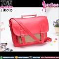 Tas Wanita Fashion - Dualbelt Red Brown Slingbag