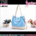 Tas Fashion Wanita - Rhombus Button Blue Khaki Bag