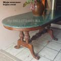Meja makan marmer hijau oval ukuran 90x170cm