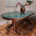 Meja makan Oval marmer hijau ukuran 100 x 200 cm