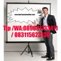 layar projector tripod 244cm x 244cm